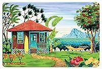 22cm x 30cmヴィンテージハワイアンティンサイン - 海の家 - ハワイ - ハワイ諸島 - トロピカルパラダイス - オリジナルの水彩画からのもの によって作成された ロビン アルトマン