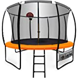 UP-SHOT 12ft Round Kids Trampoline with Curved Pole Design and Basketball Set, Black with Orange Padding