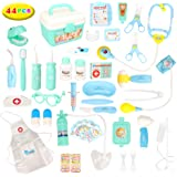 Barwa 44pcs Doctors Kit for Children, Prentent Play Dentist Medical Kit with Electronic Tools and Coat for Kids, Roll Play To