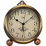 Maxspace Metal Golden Table Clock, Retro Vintage Non-Ticking Small Alarm Clock,Battery Operated Silent Quartz Movement HD Gla