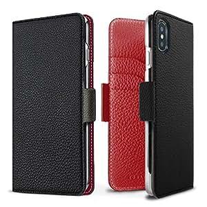 iPhone X ケース BONAVENTURA ボナベンチュラ German leather diary case with Magnet マグネット付 (ブラック×レッド)