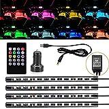Skysonic 新型!USB式 車内装飾用LEDライト,防水高輝度 音に反応サウンドセンサー内蔵 フルカラーRGB LEDテープライト 足下照明 多種フラッシュモード 全8色に切替 USBカーチャージャーとリモコン付き