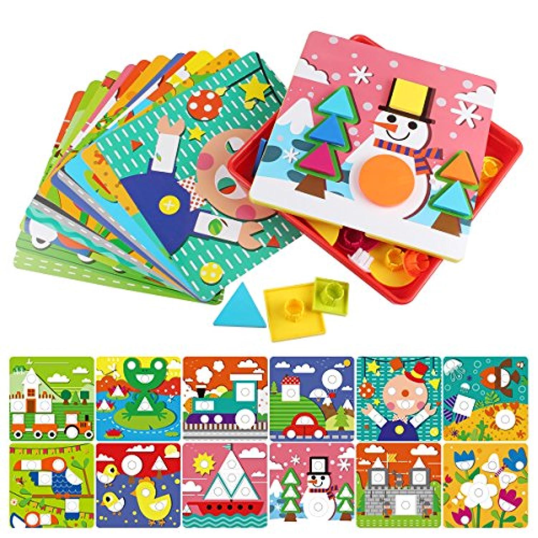 AMOSTING初期学習教育玩具ボタンアート幼児用、色&ジオメトリ形状の一致するモザイクパズルPeg Board Games for Preschoolキッズ