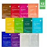 DERMAL Color Facial Essence Mask Sheet 25g Pack of 12 - Nutritious Ingredients Moisturizing Facial Mask Sheet Combo Set, 100%