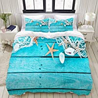 TARTINY 布団カバー シングル 3点セット,漁網、海の貝殻、ヒトデのカラフルなターコイズブルーで描かれた木の板との国境, ベッド用 掛け布団 + 枕 カバー 洋式 和式兼用 セミダブル(175 x 210cm)