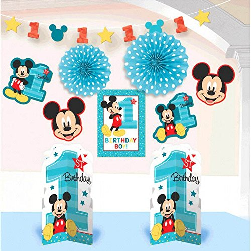 Mickey Mouse 1st Birthday Room Decorating Kit 10 count Party Supplies Mickey Fun to be One!