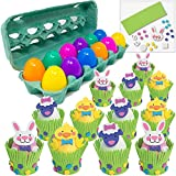 Easter Egg Decorations Craft Kit (12) Including 12 Eggs in Tray Crate | Adhesive Foams Makes Sheep Rabbit & Chick | Kids DIY Project Hunt Basket Stuffer Party Favors Classroom Sunday School