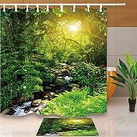 GooEoo 風景シャワーカーテン、森林木材リヴュレットツリー緑の自然の風景、71X71in防カビのシャワーカーテンは、15.7x23.6inフランネルのノンスリップフロアのドアマットバスラグ