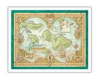 マウイ発見 - マウイ島、ラナイ、モロカイ島のハワイ諸島の地図 - ビンテージなハワイアンカラーの地図製作のマップ によって作成された デイヴ・スティーヴンソン - アートポスター - 28cm x 36cm