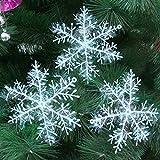 クリスマス飾り Xmas飾り?パーティ ホワイト 雪の結晶 クリスマス ツリー オーナメント 屋内外、結婚式、学園祭 飾り 雪化粧 12個セット (8.5cm)