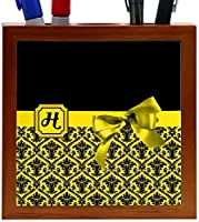 Rikki Knight Letter H Yellow Monogram Damask Bow Design 5-Inch Tile Wooden Tile Pen Holder (RK-PH41865) [並行輸入品]