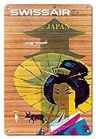 22cm x 30cmヴィンテージハワイアンティンサイン - - ビンテージな航空会社のポスター によって作成された ドナルド・ブラン c.1958