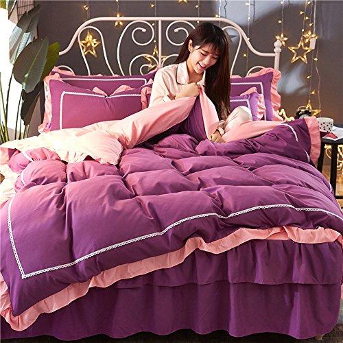 YETUGE 寝具カバー四点セット  可愛い 掛け布団カバー ベッドシーツ 2枚枕カバー 四節適用 柔らかい 寝具カバーセット おしゃれ