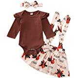 Thanksgiving Outfits Baby Girl Turkey Ruffle Sleeve Romper+Plaid Suspender Skirt Overall 3 Pcs Fall Clothes