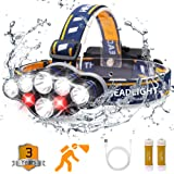 Headlamp, Rechargable Headlamp Flashlight 8 LED 20 modes Headlight with White Red Lights Waterproof HeadLamps for Adults Camp