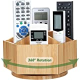 Bamboo Rotating TV Remote Control Holder Organizer,Remote Control Caddy with 7 Sections for Keys, Remote Controls,Nail Clippe