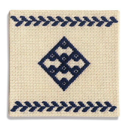 オリムパス製絲 こぎん刺製作キット コースター(紺)20