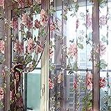 (ラ・デア) La dea ロング カーテン 薄い 遮像 リビングルーム・ベランダ・客間用 (花柄 2枚セット)