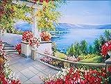 Mona Lisa クロスステッチ 刺繍キット 薔薇テラス ロマンティック 海辺の景色 (40*50)