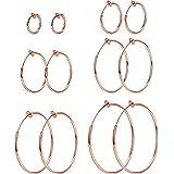 Udalyn 6 Pairs Stainless Hoop Earrings Set Clip On Hoop Earrings For Women Men Non Pierced Earrings