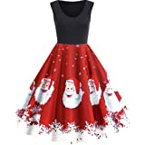 iNewbetter Womens Retro Cocktail Party Dress Witch Print A Line Swing Halloween Sleeveless Vintage Dresses
