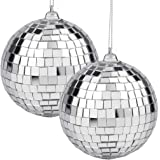 2 Pieces Disco Mirror Balls Silver Hanging Ball for 50s 60s 70s Disco DJ Light Effect Party Home Decoration Stage Props Schoo