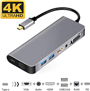 USB C HDMI VGA変換 USB C ハブ 7in1 USB Type C ハブ HDMI Samsung Dexモード USBC HDMI LAN 1000Mbps対応 usb type c 変換 3.5mmオーディオ/PD充電/RJ45/HDMI 4K/VGA/USB3.0*2 Macbook pro/2018 MacBook Airに対応