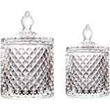 Maypink Crystal Diamond Faceted Jar with Crystal Lid,Suitable as A Candy Dish,Cookie Tin,Biscuit Barrel,Decorative Candy Jar