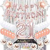 21歳誕生日 飾り付け ローズゴールド happy birthday 紙吹雪入れ  スターアルミバルーン ショルダーストラップ シャンパンカラ 女の子 12歳 21歳 誕生日パーティーデコレーション