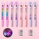 SITAKE 8 Pcs Cute Pens Kawaii Pens Fun Pens, 0.38mm Cat Paw Shiny Luminous Ballpoint Pens, Korean Japanese Stationery School