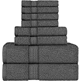 Utopia Towels Premium 8 Piece Towel Set (Dark Grey) - 2 Bath Towels, 2 Hand Towels and 4 Washcloths Cotton Hotel Quality Super Soft and Highly Absorbent