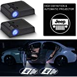 2Pcs Car Door Logo Light Projector for Jeep Compatible,LED Wireless Ghost Shadow Lights Lamp,Laser Door Welcome Courtesy Pudd