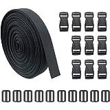 JETEDC(ジェットイデイシイ)Molle スーツケースベルト 荷崩れ防止 ベルト10セット 25mm×10m ワンタッチ式ロックプラスチックロック10個入り 荷締めベルト 作業用ベルト 調整可能 (黒)