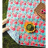 """Designs by Novogratz Pink Flamingo Beach/Picnic Blanket   Reversible and Water Repellent   Rolls into It's own Easy-Cary Bag   Measures: 50"""" x 60""""   Great for Summer Fun!"""