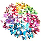 LiveGallery 72 PCS 6 Colors Removable 3D DIY Beautiful Butterfly Wall Decals Colorful Butterflies Art Decor Wall Stickers Mur