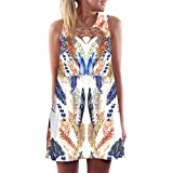 Hansair Vintage Boho Women Summer Sleeveless Beach Printed Short Mini Dress