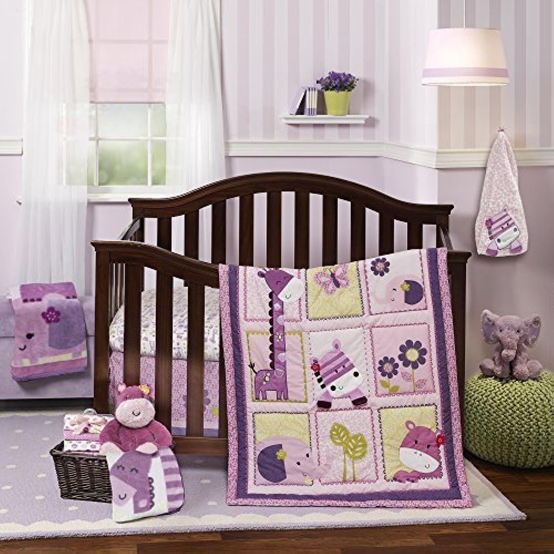 Lambs &Ivy Hopscotch Jungle 4 Piece Crib Bedding Set, Pink/Plum/Fuscia [並行輸入品]