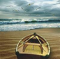 Pacific 6: 00AM by Carlos Casamayorボートビーチシーンキャンバス(サイズ選択) 20x20 Un-stretched Canvas BM-C2075-4C