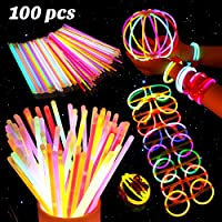 BESTOYARD 蛍光ブレスレット 8色100本セット 光る ケミカルライト 8種 接続ジョイント