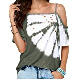 Women's Cold Shoulder Short Sleeve Summer Oblique Collar Tie Dye Casual Tee T-Shirts Tops Blouse