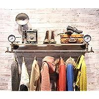 浮遊式棚 コートラック衣料品店ハンガーディスプレイスタンドレトロ古い木の水パイプ棚衣類ラックの壁ハンガー(サイズ:124 * 30センチメートル) 工業用壁フレーム