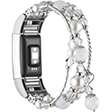 Simpeak Band Compatible with Fitbit Charge 2, Jewelry Bracelet with Elastic Beaded Pearl Band Replacement for Fitbit Charge 2
