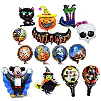 Halloween Balloons Aluminum Foil Pumpkin Bat Boot Witch Skull Cat Mickey Balloons Party Supplies Party Back Drop Decorations Pack of 14pcs [並行輸入品]
