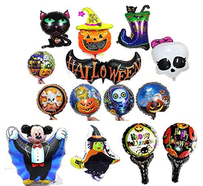 Halloween Balloons Aluminum Foil Pumpkin Bat Boot Witch Skull Cat Mickey Balloons Party Supplies Party Back Drop Decorations Pack of 14pcs [並行輸入品]