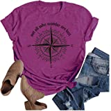Womens Not All Who Wander are Lost Shirt Funny Letters Compass Graphic tee Casual Tops