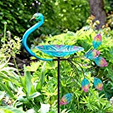 Large Outdoor Bird Bath Stake, Bird Feeder, Bird Bath For Outdoor Garden, Colourful Metal & Glass Peacock Birdbath, Bird Bath