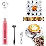 SUNANDMOON電動ミルク泡立て器16個のアートステンシルを備えたハンドヘルドミルクフォーマー、USB充電式コーヒー泡立て器3調節可能な速度のミルク泡立て器2で1泡立て器でコーヒー、ラテ、カプチーノに最適、約7-15日配達
