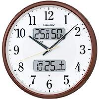 セイコークロック 掛け時計 01:茶メタリック 01:直径35cm 電波 アナログ カレンダー温度 湿度 表示 BC40…