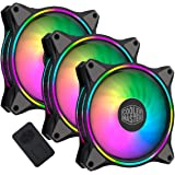 3-in-1 Cooler Master MasterFan MF120 Halo Duo-Ring Addressable RGB Lighting 120mm with Independently-Controlled LEDs, Absorbi