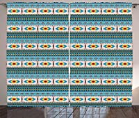 VamJump アフガン遮光カーテン垂帘 窗帘 昼夜目隠し 遮像 デコレーション 取り付け簡単、幾何学的図形の菱形の縞模様の中東パターン、リビングルームの寝室の窓ドレープ、多色 2枚組 幅100cm丈215cm